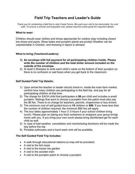 Field Trip Guide Page 1